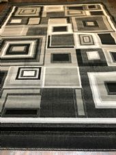 Modern Aprox 9x7FT 200cmX270cm New Rug Woven Blocks Grey/Silver/Black XXL Rugs